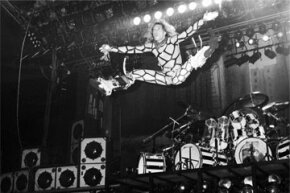 Spandex: Friend to rock stars everywhere. David Lee Roth shows off his stretchy duds while playing with Van Halen at a 1981 Philadelphia show.
