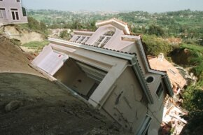 A home in southern California slipped down a hillside in 1997 thanks to heavy rains generated by El Nino.
