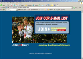 Politicians like John Kerry, above during the 2004 presidential election, can use e-mail lists to reach potential voters.