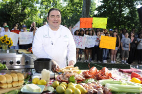 "Emeril Lagasse cooking summer dishes on ""Good Morning America"" in 2010."