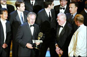 "Stephen Spielberg accepting an Emmy for ""Band of Brothers"" in 2002"