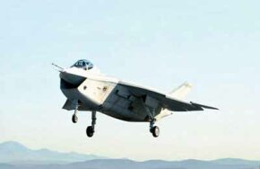 The Boeing Company doesn't lose many competitions, but its Joint Strike Fighter contender, shown here on its September 18, 2000, first flight, was narrowly defeated by the Lockheed Martin entry.
