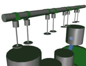 The camshaft (click on image to see animation). See pictures of car engines.