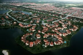 Aerial view of an Everglades housing development in Florida.