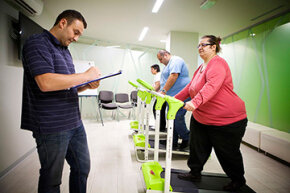 Patients take part in a physical exercise program at an obesity clinic in France. How important is exercise for weight loss?