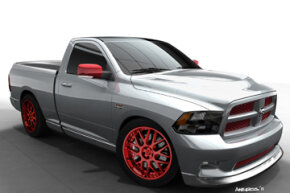 The Ram 392 Quick Silver has a 470 horsepower, 392 HEMI V-8 from the SRT lineup. For additional performance, it's equipped with a cold-air intake kit and headers featuring an electronic exhaust cutout for maximum power and sound at the track.