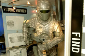 An exoskeleton suit is displayed by the U.S. Army.