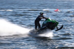 Snowmobile watercross is a risky sport — it's even banned in some U.S. states.