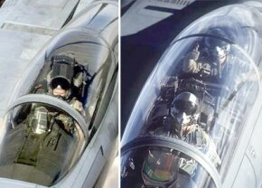 The cockpit in the F-15 Strike Eagle (on the right) has an extra station for the weapons systems officer.