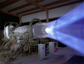 F-22 engine test: The two blue streams show the up/down vertical angle the engine can achieve.