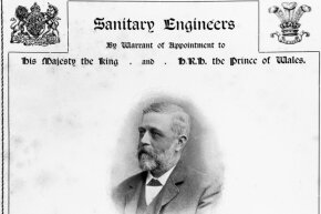 This photograph of the worthy Mr. Crapper graces the cover of the 1902 catalogue of Thomas Crapper and Company, which sold all kinds of plumbing items and water closets.
