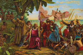 This painting shows Christopher Columbus landing on San Salvador (in what is now the Bahamas). Columbus thought he'd reached India.