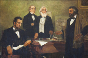 This close-up of a mural, titled ''Douglass Appealing to President Lincoln' by William Edouard Scott, 1943, depicts Frederick Douglass (right) petitioning for the participation of African-Americans in the Union Army during the U.S. Civil War.