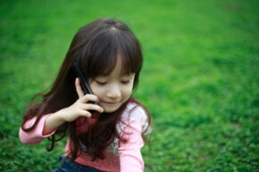 Even the little ones have cell phones these days.