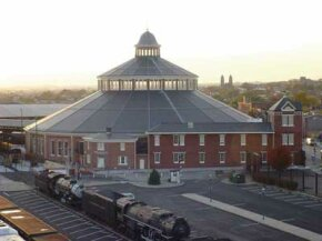 The B&O Railroad Museum campus includes the original roundhouse, which houses the museum's collection of railroad cars, engines, and other railroad memorabilia.