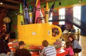 At the Binney & Smith Crayola Factory, families engage in hands-on creativities.