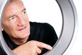 James Dyson demonstrates that there are indeed no visible blades on the Air Multiplier.