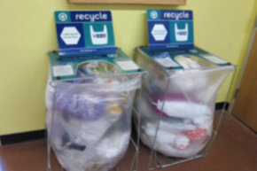 Many grocery stores accept plastic bags for recycling, which is always preferable to sending plastics into a landfill.