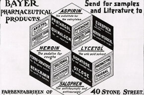 """This Bayer Pharmaceutical ad from a 1900 magazine highlighted a number of products, including heroin -- """"the sedative for coughs."""""""