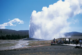 Since 1872, crowds have delighted in the eruption of Yellowstone National Park's Old Faithful geyser.