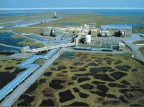 Oil drilling creates a pretty imposing footprint on the surrounding environment, as you can see here in Prudhoe Bay, Alaska.