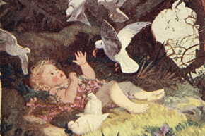 A 1915 illustration shows future powerful lady leader Semiramis surrounded by her family of doves.