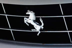 Picture of a Ferrari Logo taken during a press day at the Paris Motor Show at Parc des expositions Porte de Versailles on Sept. 30, 2010 in Paris, France.