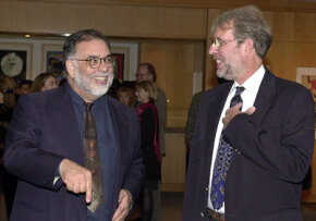 """Walter Murch started his career as a sound editor on """"Godfather III."""" He is right with Francis Ford Coppola, left, at an Oscars party."""