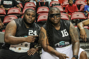 "Jerome Jackson and Bernice Brunson of ""South Beach Tow"" participate in a celebrity basketball game. In real life Bernice was an actor and phys-ed teacher and not an employee of the tow company."