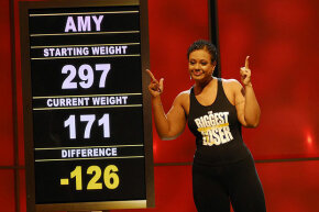 "Amy Zimmer lost over 100 pounds on ""The Biggest Loser."" The show often uses a visit from family as reward for meeting goals."