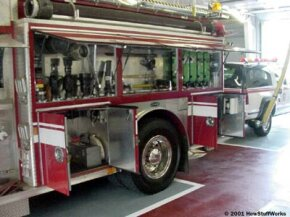 A fire engine carries dozens of tools and supplies in its compartments, including forceful-entry tools, nozzles and hydrant connection adapters.