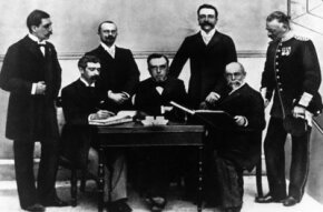 The first Olympic committee, shown on June 1, 1896. Seated L to R: Baron de Coubertin (France), Demetrius Vikelas (Greece), A. de Boulovsky (Russia). Standing L to R: Dr. W. Gebhardt (Germany), Jiri Guth-Jarkovsky (Czechoslovakia), Francois Kemeny (Hungary) and General Victor Balck (Sweden)