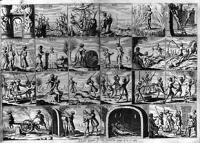 A 1637 depiction of 22 tortures inflicted on Christian slaves captured by Barbary pirates