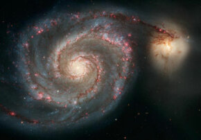 The exotic Whirlpool Galaxy, as seen through the Hubble telescope