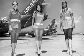 Southwest Airlines stewardesses modeled their sexy uniforms in 1968.