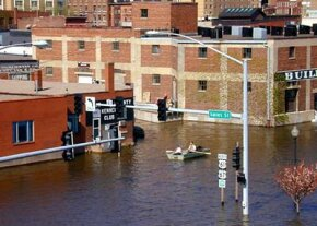 Heavy rains in the spring of 2001 flooded Davenport, Iowa. Until the waters subsided, locals had to get around town by rowboat.