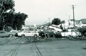 Cars piled up by a 1972 flash flood in Rapid City, South Dakota.