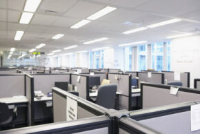 Many offices have fluorescent lamps as a primary source of light. See more green science pictures.