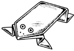 A piece of paper transforms as if by magic into a leaping frog.