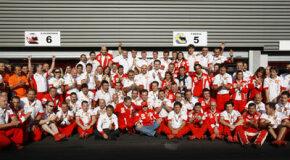 The Ferrari team celebrates after winning the Belgian Grand Prix in September 2007.