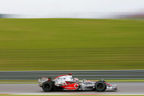 Spanish driver Fernando Alonso on the track at the Chinese Grand Prix on Oct. 7, 2007