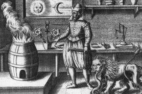 An alchemist chases the secrets of nature in this 1618 engraving.