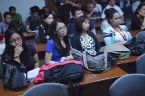 "Law students from the University of the Philippines watch ""Innocence of Muslims"" in Manila. The film was banned by university officials but a law professor proceeded with it as part of a discussion on freedom of expression."