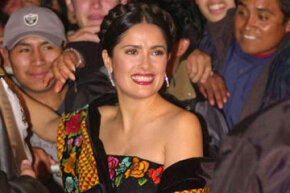 "Salma Hayek, who played Frida Kahlo in the movie ""Frida,"" attends the 2002 premier in Mexico City."