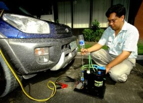 A Filipino inventor, Glen Castillio, collects hydrogen from his portable hydrogen reactor which is connected to a 12-volt battery in the car. His reactor separates enough hydrogen from water to run an automobile engine.