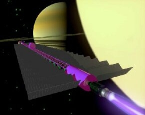 Artist's concept of a fusion-powered space vehicle approaching the Saturn moon Titan