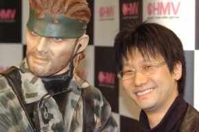 """""""Metal Gear"""" creator Hideo Kojima poses with the character that uttered the (in)famous words, """"I feel asleep."""""""