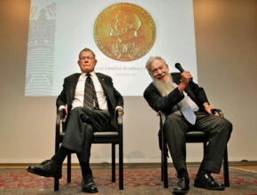 Game theorists Thomas Schelling and Robert Aumann deliver a Nobel lecture at the Royal Academy in Stockholm, Sweden, in December 2005.