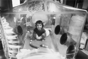 """Severe combined immunodeficiency (SCID) syndrome is one of the (limited) success stories of gene therapy. Pictured here is """"bubble boy"""" David Vetter, who had SCID and died years before the trials began."""