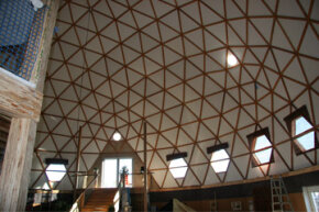 The Long Island Green Dome has a high ceiling interlaced with wooden struts that add to its aesthetics.